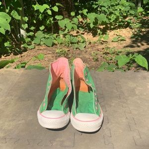 Green and pink Converse